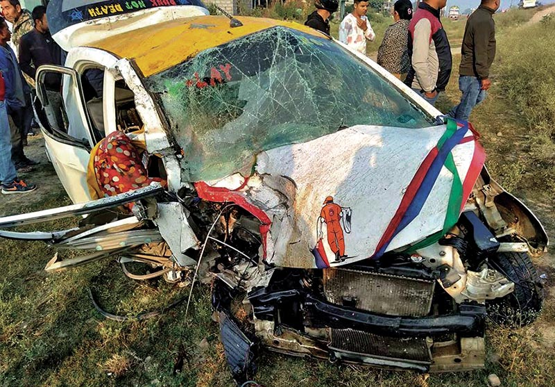 The mangled remains of a taxi after it met with an accident at Bhamarabridge, in Nijgadh Municipality, Bara. Photo: THT