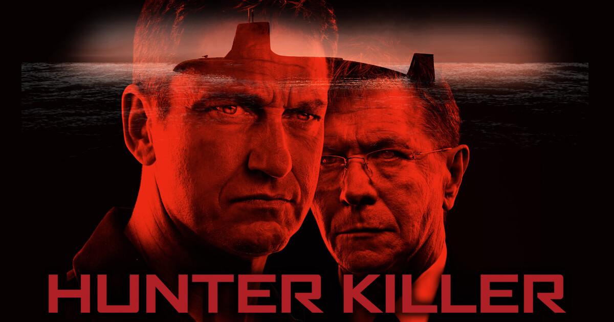 A poster of the movie Hunter Killer starring Gerrad Butler and Gary Oldman.