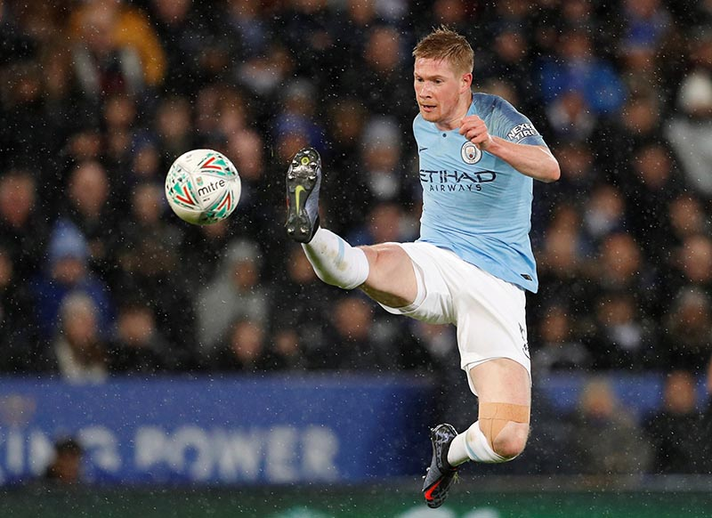 Manchester City's Kevin De Bruyne in action during the Carabao Cup Quarter-Final match between Leicester City and Manchester City, at King Power Stadium, in Leicester, Britain, on December 18, 2018. Photo: Reuters