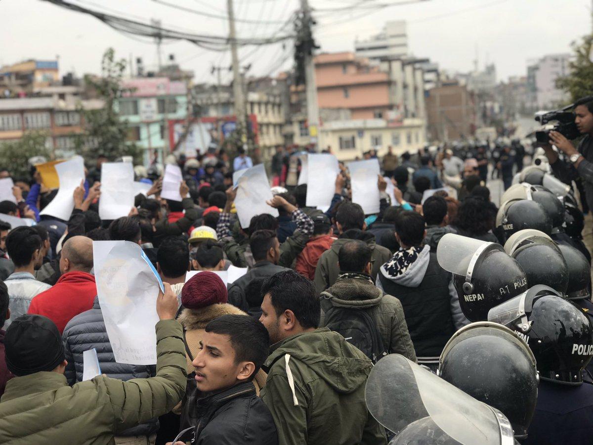 Protesters in a rally chant slogans demanding #JusticeForNirmala, at Maitighar, in Kathmandu, on Saturday, December 1, 2018. Photo: Manavi Paudel