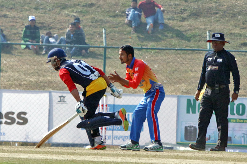 Players in action during Everest Premier League T20 Cricket Tournament at TU Cricket Stadium in Kirtipur, on Thursday, December 20, 2018. Photo: RSS