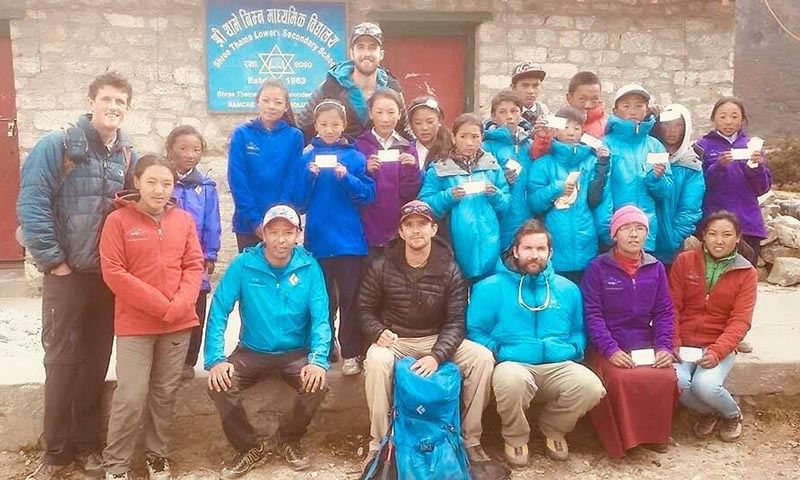 Children of 2014 Everest avalanche victims along with their supporters in Namche, Solukhumbu. Photo courtesy: Mingma Sherpa/Everest Sherpa Foundation