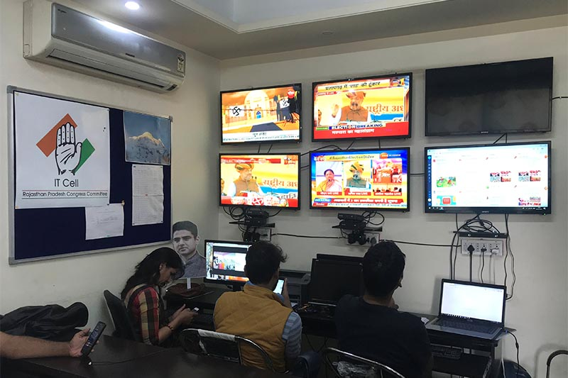 Volunteers of India's main opposition Congress party monitor TV news channels and social media inside their war room which was setup for a state assembly election, in Jaipur in the desert state of Rajasthan, on December 3, 2018. Photo: Reuters