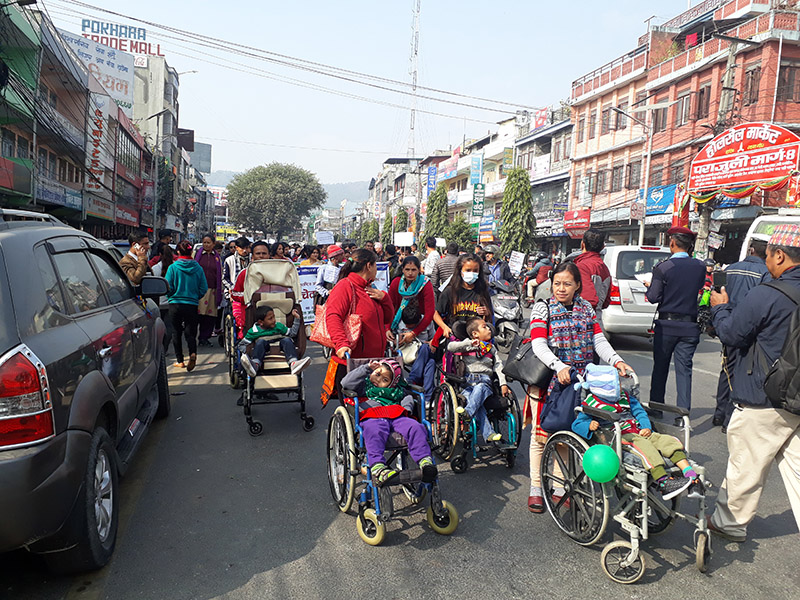 Participants at an informative awareness rally taken out to mark the International Day of Persons with Disabilities, in Pokhara, on Monday, December 3, 2018. Photo: Rishi Ram Baral/THT