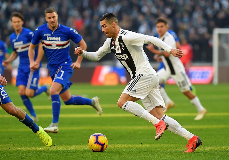 Juventus' Cristiano Ronaldo in action during the Serie A match between Juventus and Sampdoria, at Allianz Stadium, in Turin, Italy, on December 29, 2018. Photo: Reuters