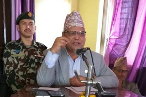 Speaker Krishna Bahadur Mahara speaking at a programme organised by  Udayapur District Coordination Committee, in Gaighat, on Tuesday, December 4, 2018. Photo: THT