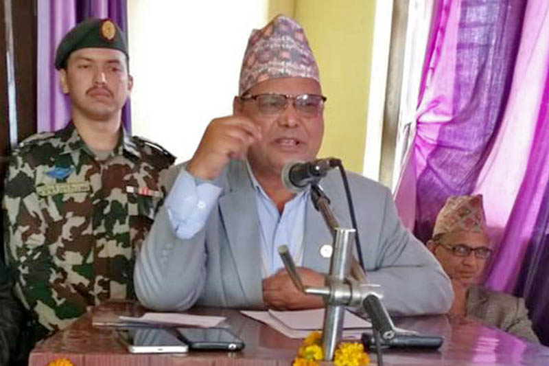Federal Parliament Speaker Krishna Bahadur Mahara speaks during an interaction programme in Gaighat of Udayapur district, on Tuesday, December 04, 2018. Photo: Shyam Rai