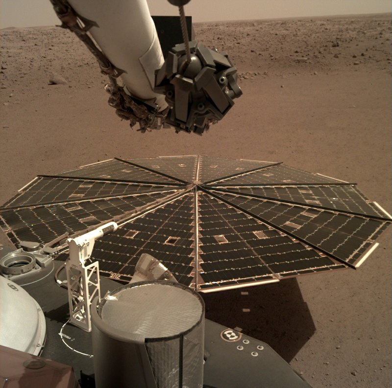 nThis Friday, Dec. 7, 2018 photo made available by NASA shows a view from the arm-mounted camera on the InSight Mars lander. The spacecraft arrived on the planet on Nov. 26. Photo: AP