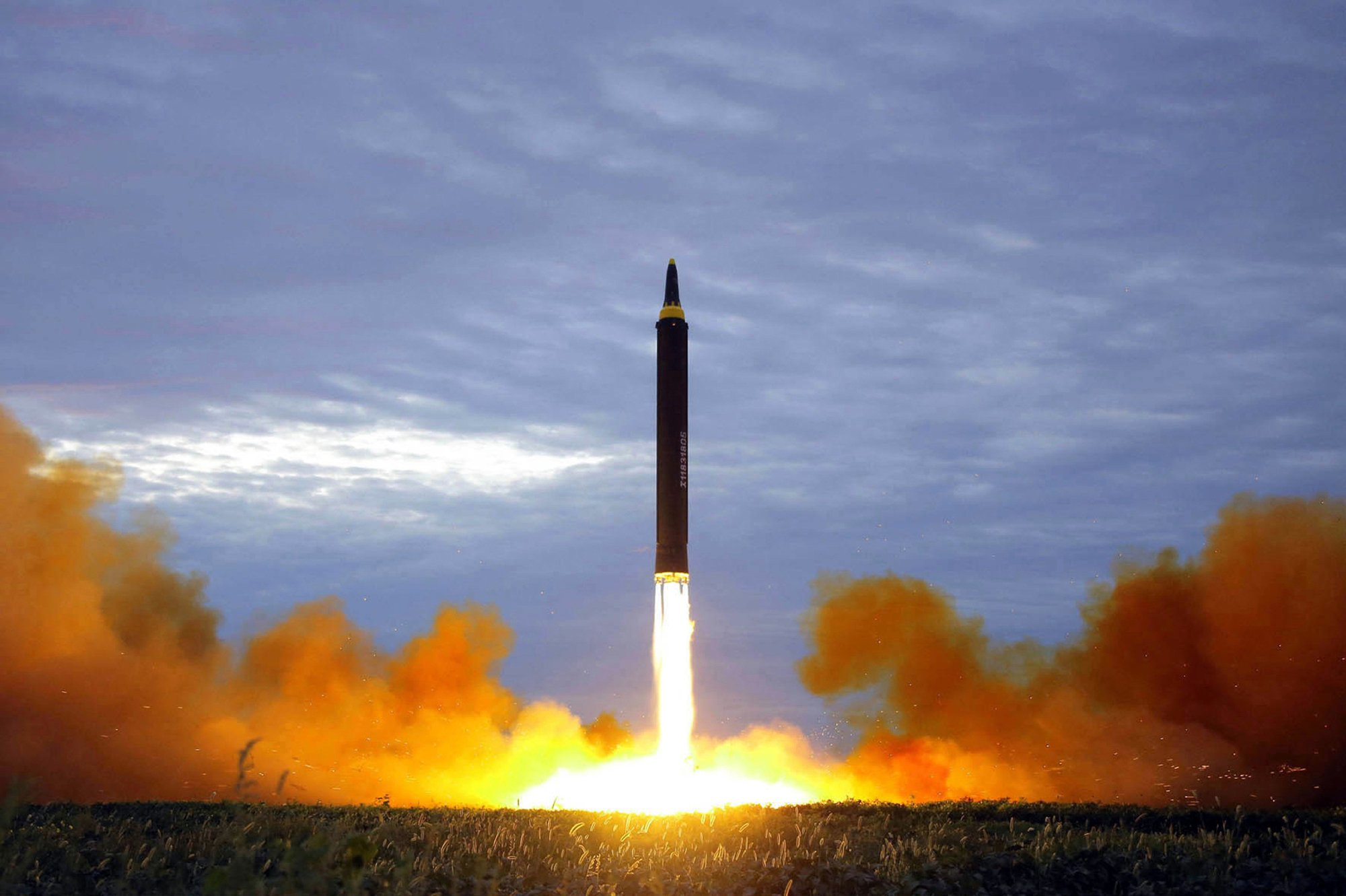 FILE - This Aug. 29, 2017, file photo by the North Korean government shows what was said to be the test launch of a Hwasong-12 intermediate-range missile in Pyongyang, North Korea. Photo: AP