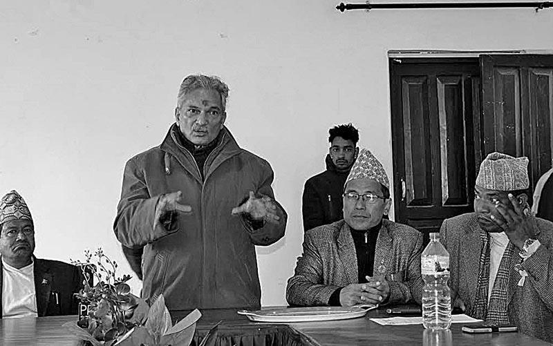 Naya Shakti Party- Nepal Coordinator Baburam Bhattarai speaking at an event in Khotang, on Saturday. Photo: THT