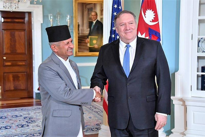 Nepal's Minister for Foreign Affairs Pradeep Kumar Gyawali shakes hands with Secretary of State Mike Pompeo, in Washington DC, US, on Tuesday, December 18, 2018. Photo: Department of State Twitter