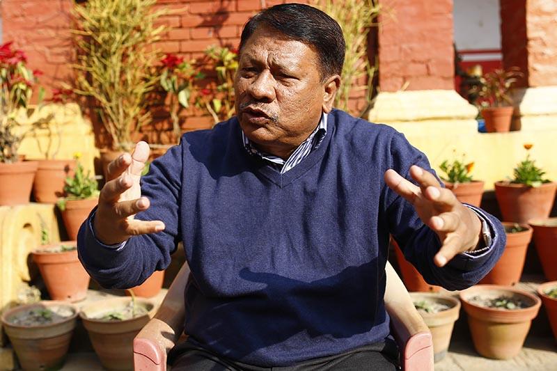 Interview with Nepali Congress leader Prakash Man Singh at his residence in Thamel on Saturday, December 29, 2018. Photo: Skanda Gautam/THT