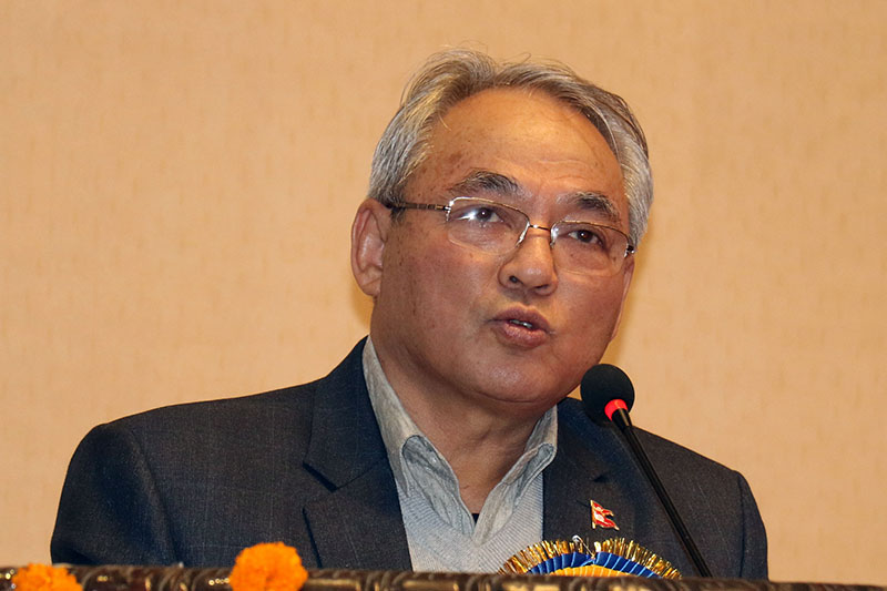 Home Minister Ram Bahadur Thapa speaks at a programme in Kathmandu, on Tuesday, December 25, 2018. Photo: RSS