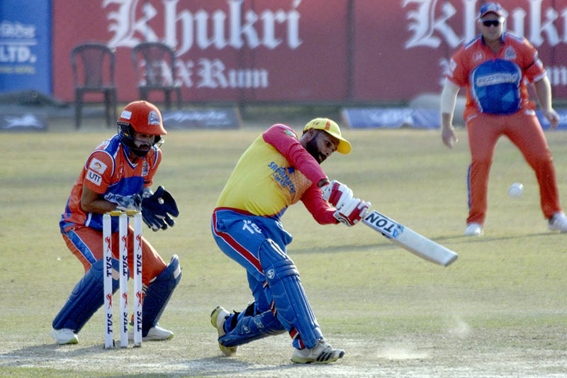 Bhairahawa Gladiators batsman Ravi Inder Singh lofts a ball during EPL at TU Cricket Ground in Kathmandu, on Sunday, December 09, 2018. Photo: Naresh Shrestha/THT