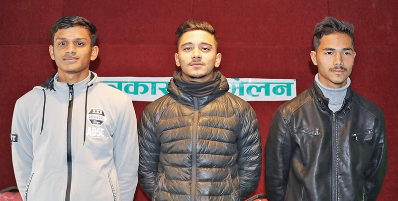 (From left) Nepali cricketers Trit Raj Das, Rit Gautam and Bhupendra Kumar Upreti pose for a picture during a press meet in Kathmandu on Tuesday. Photo Courtesy: HamroKhelkud