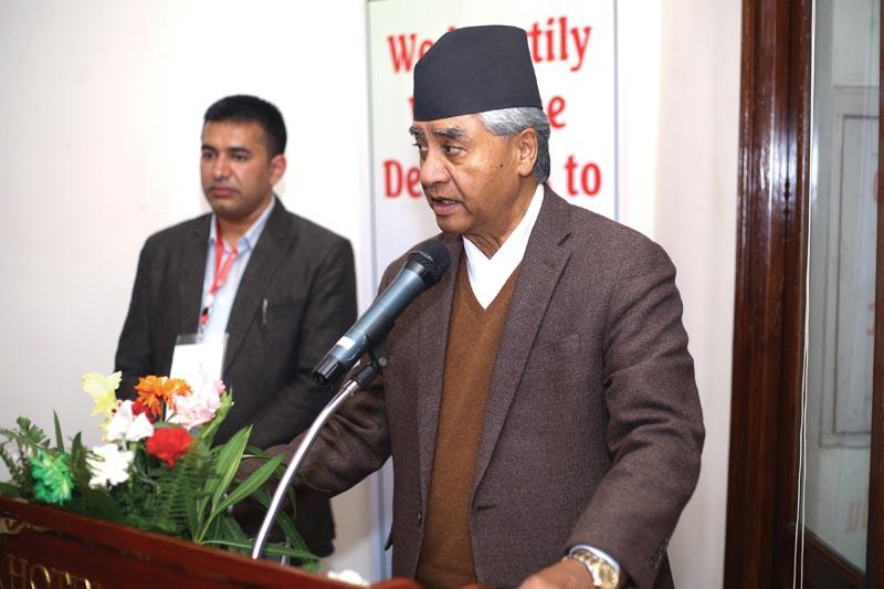 Nepali Congress President Sher Bahadur Deuba speaking at a programme organised by Nepal Student Union, in Kathmandu, on Friday, November 30, 2018. Photo: AP