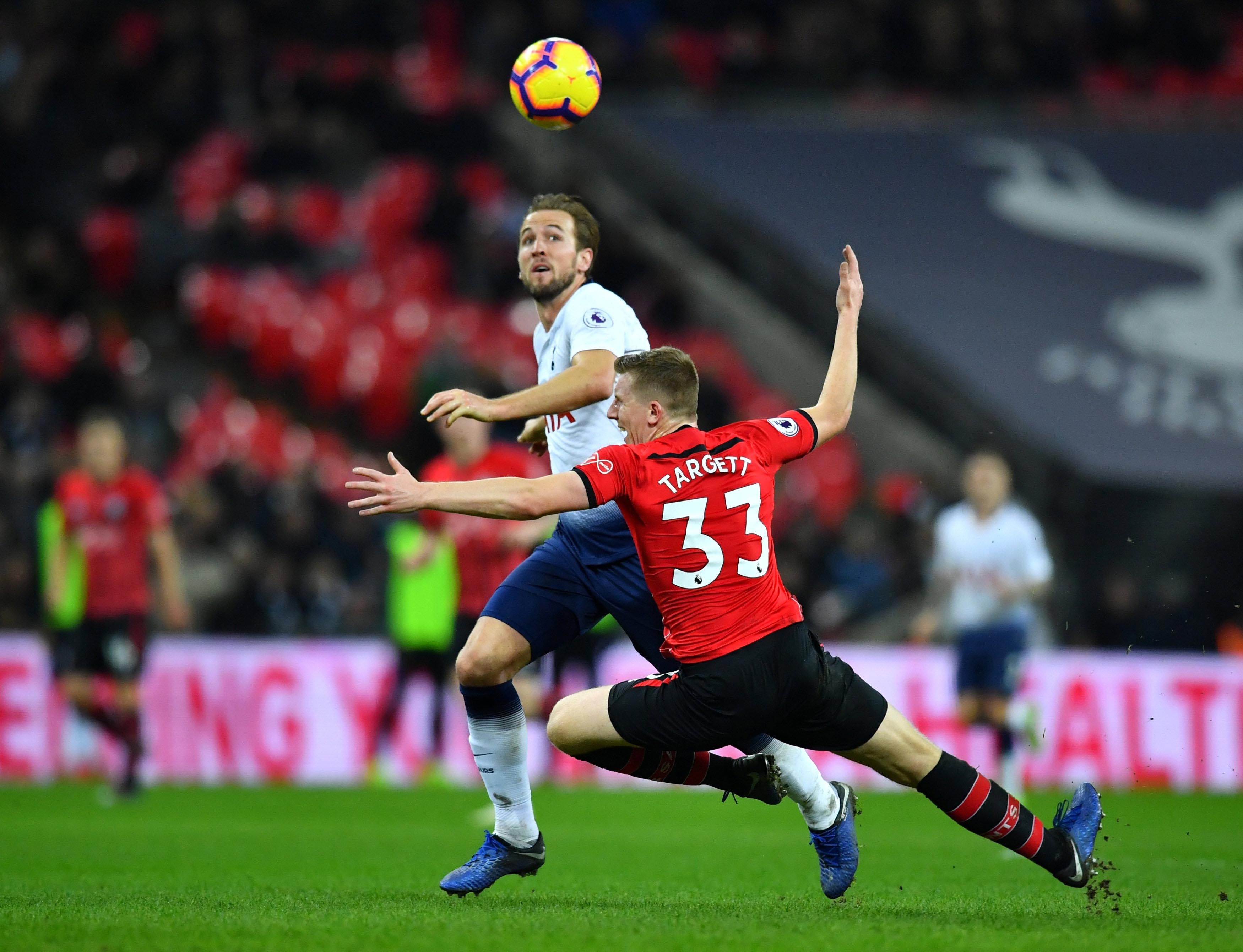 Tottenham's Harry Kane in action with Southampton's Matt Targett during the Premier League match between Tottenham Hotspur and Southampton, at Wembley Stadium, in London, Britain, on  December 5, 2018. Photo: Reuters