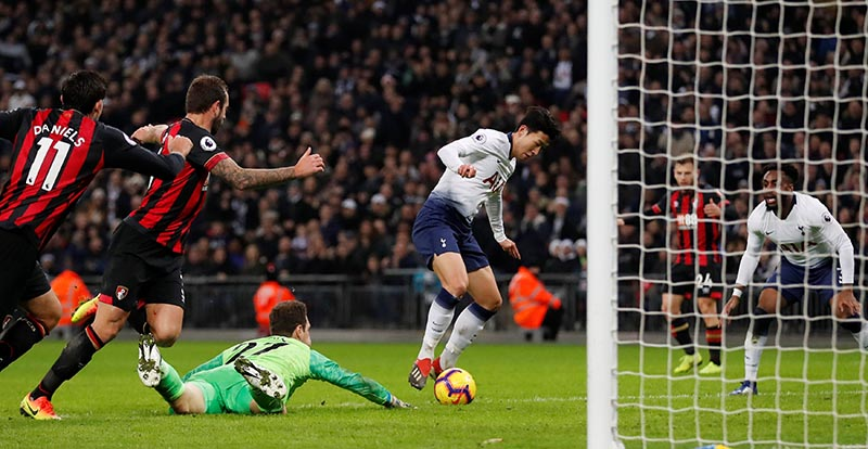Tottenham's Son Heung-min scores their fifth goal during the  Premier League match between Tottenham Hotspur and AFC Bournemouth, at Wembley Stadium, in London, Britain, on December 26, 2018. Photo: Action Images via Reuters