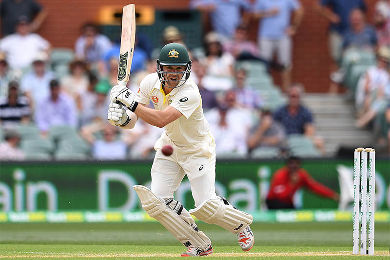 Australia's batsman Travis Head plays a shot on day two of the first test match between Australia and India at the Adelaide Oval in Adelaide, Australia, December 7, 2018. Photo: Reuters