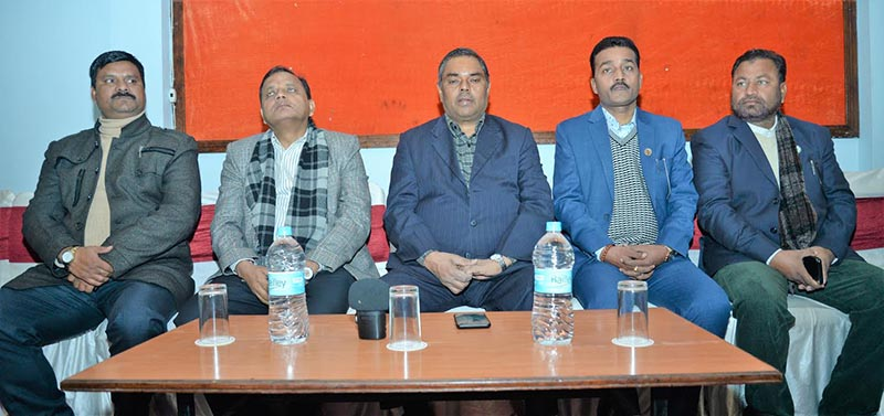 Deputy Prime Minister and the Chairman of Federal Socialist Forum-Nepal Upendra Yadav speaking at a press meet organised in Birgunj, Parsa, on Sunday, December 30, 2018. Photo: THT