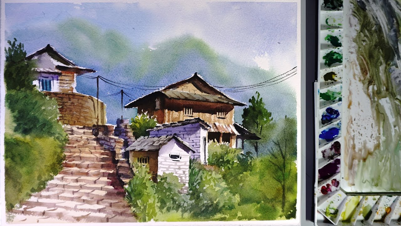 A water color painting of Ghandruk in Kaski. Photo:Youtube