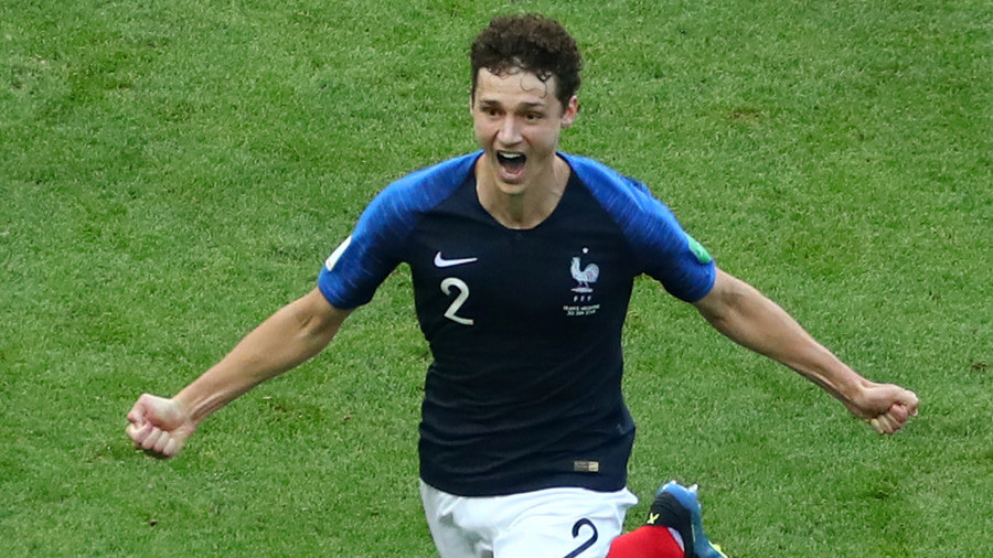 France defender Benjamin Pavard celebrates scoring in the Russia World Cup 2018. Photo: Reuters