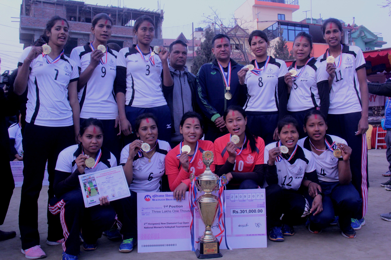 Nepal APF Club team members after winning the New Diamond Cup on Saturday, January 12, 2019. Photo: THT