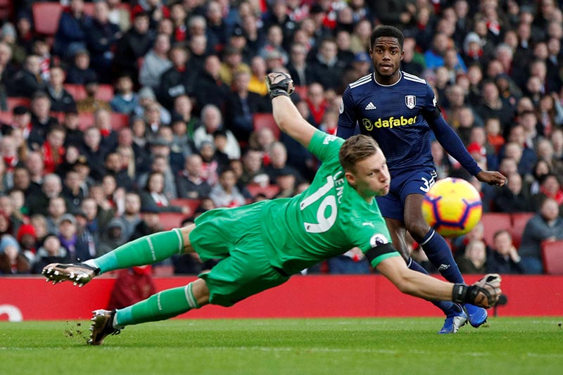 Arsenal's Bernd Leno in action with Fulham's Ryan Sessegnon during the Premier League during the match between Arsenal and Fulham, at Emirates Stadium, in London, Britain, on January 1, 2019. Photo: Action Images via Reuters