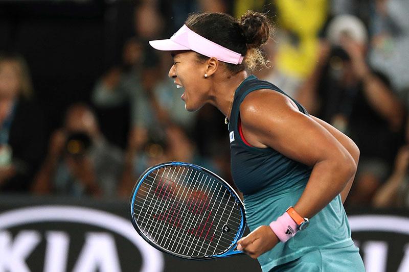 Japan's Naomi Osaka celebrates after winning the Australian Open Semi-final match against Czech Republic's Karolina Pliskova, at  Melbourne Park, in Melbourne, Australia, on January 24, 2019. Photo: Reuters