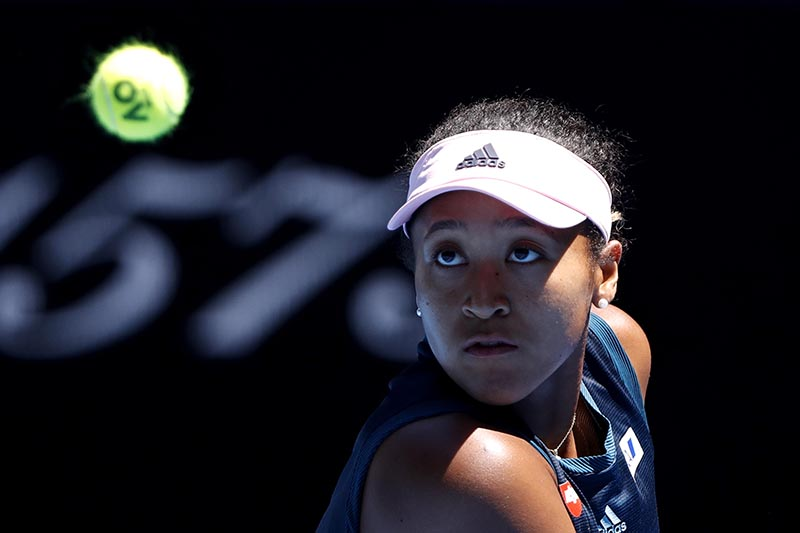 Japan's Naomi Osaka in action with Ukraine's Elina Svitolina during the Australian Open Quarter-final match, at Melbourne Park, in Melbourne, Australia, on January 23, 2019. Photo: Reuters