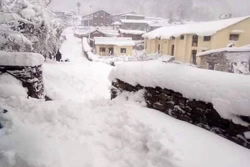 A view of human settlement  blanketed in snow, in Martadi, Bajura, on Friday, January 25, 2019. Photo: RSS