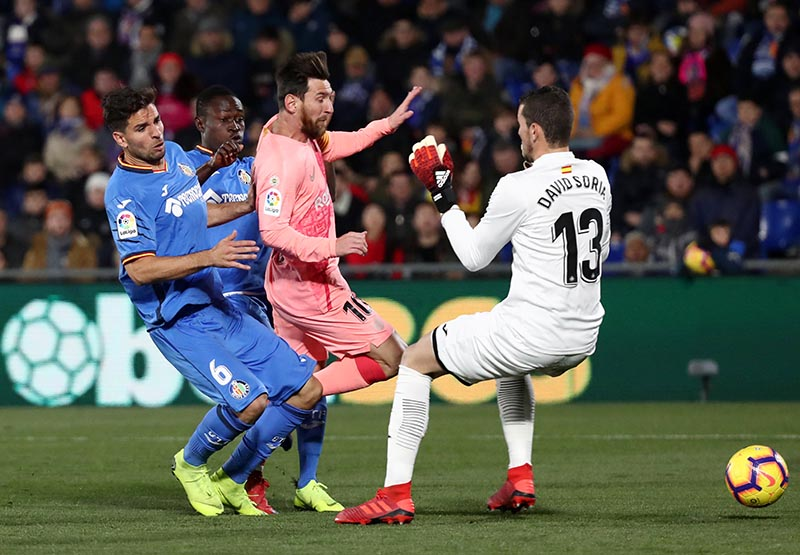 Barcelona's Lionel Messi in action before scoring their first goal during the La Liga match between Getafe and FC Barcelona, at  Coliseum Alfonso Perez, in Getafe, Spain, on Janaury 6, 2019. Photo: Reuters