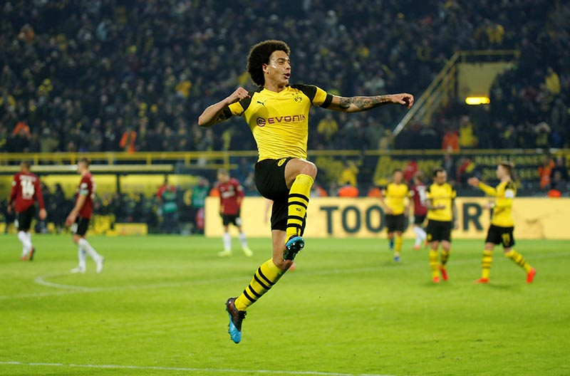 Borussia Dortmund's Axel Witsel celebrates scoring their fifth goal during the Bundesliga match between Borussia Dortmund and Hannover 96, at Signal Iduna Park, in Dortmund, Germany, on January 26, 2019. Photo: Reuters