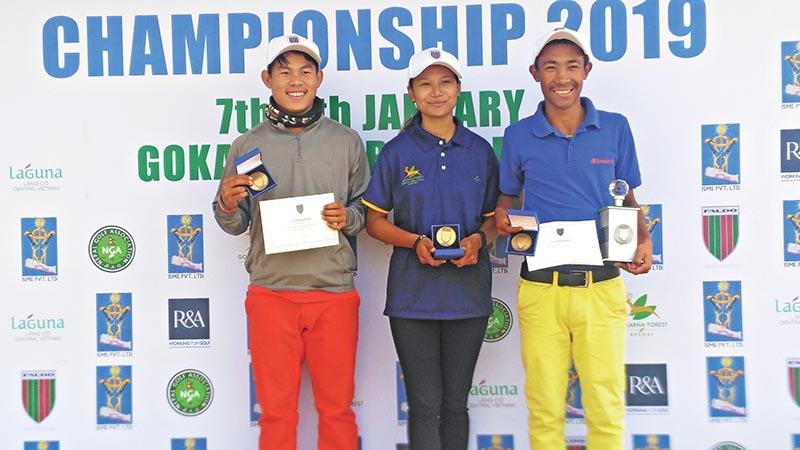 (From left) Sukra Bahadur Rai, Kashmira Shah and Subash Tamang after the CMS Faldo Series Nepal Championship at the Gokarna Golf Club in Kathmandu on Wednesday. Photo Courtesy: Gokarna Golf Club