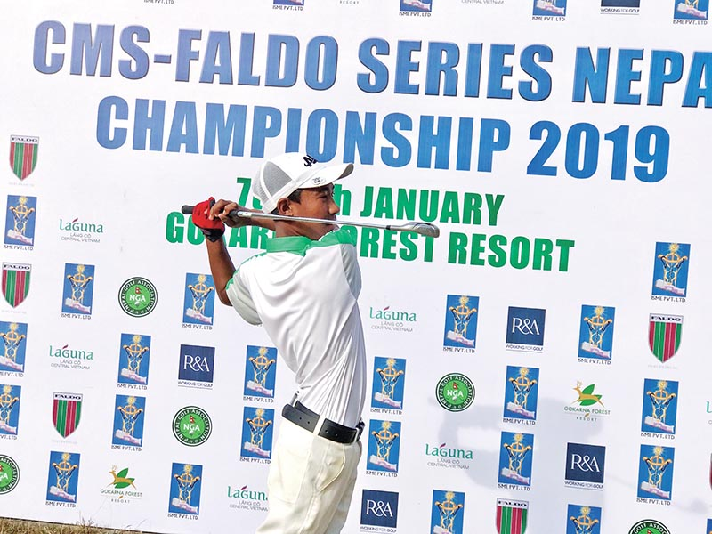 Subash Tamang plays a shot during the second round of the CMS Faldo Series Nepal Championship at the Gokarna Golf Club. Photo: THT