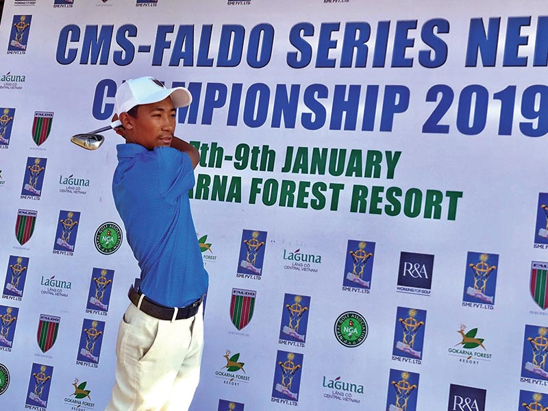 Subash Tamang plays a shot during the first round of the CMS Faldo Series Nepal Championship on Monday. Photo Courtesy: Gokarna Gulf Club