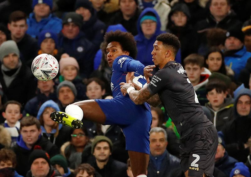 Chelsea's Willian in action with Sheffield Wednesday's Liam Palmer during the FA Cup Fourth Round match between Chelsea and Sheffield Wednesday, at Stamford Bridge, in London, Britain, on January 27, 2019. Photo: Action Images via Reuters