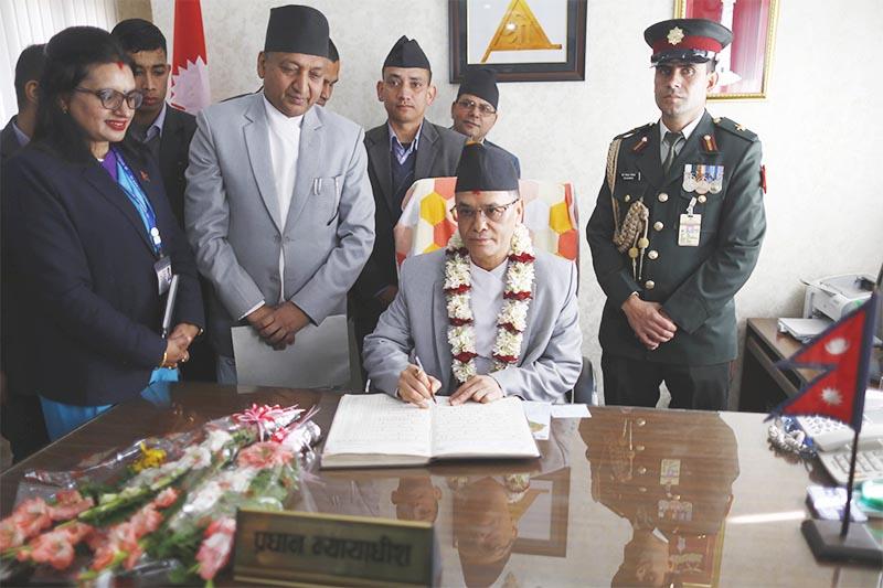 Newly appointed Chief Justice of the Supreme Court Cholendra Shumsher JB Rana assuming office, in Kathmandu, on Wednesday, January 2, 2019. Photo: Skanda Gautam/THT