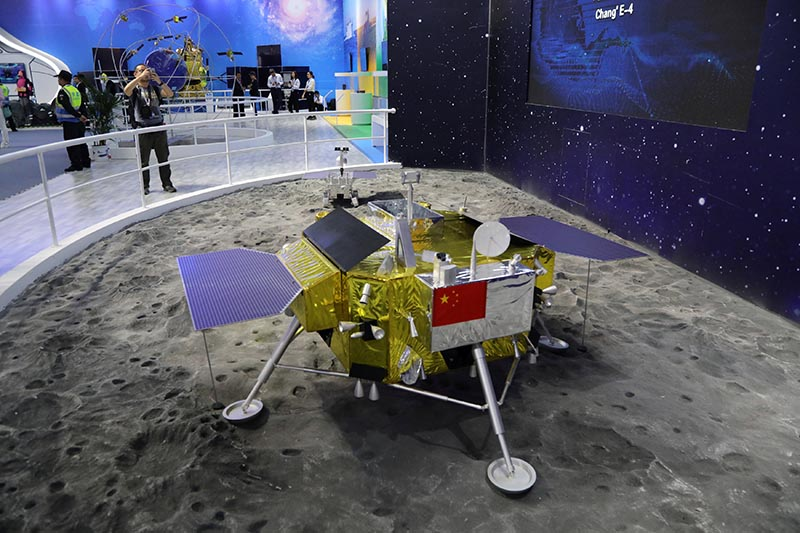 A model of the moon lander for China's Chang'e 4 lunar probe is displayed at the China International Aviation and Aerospace Exhibition, or Zhuhai Airshow, in Zhuhai, Guangdong province, China November 6, 2018. Picture taken November 6, 2018. Photo: Wang Xu/China Space News via Reuters