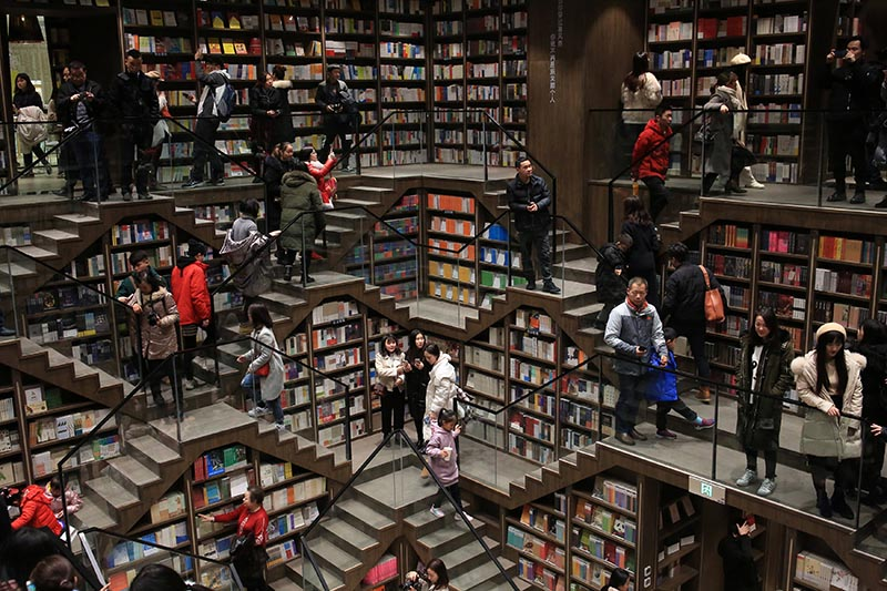 Visitors are seen inside a newly opened bookstore in Chongqing, China January 29, 2019. Photo: Reuters