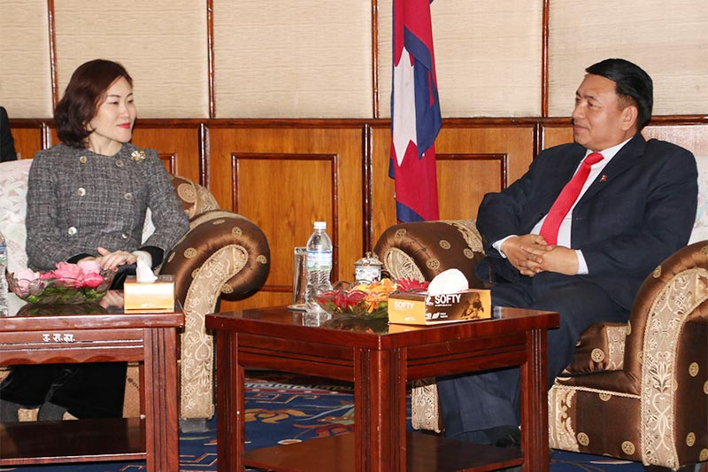 Newly-appointed Chinese Ambassador to Nepal Hou Yanqi (keft) pays courtesy call on Vice President Nanda Bahadur Pun at the latteru2019s office in Bahadur Bhawan, Kathmandu, on Thursday, January 10, 2019. Photo: RSS