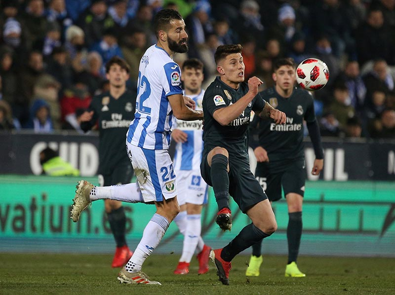 Leganes' Dimitris Siovas in action with Real Madrid's Cristo Ramon Gonzalez Perez during the Copa del Rey Round of 16 Second Leg match between Leganes and Real Madrid, at Butarque Municipal Stadium, in Leganes, Spain, on January 16, 2019. Photo: Reuters