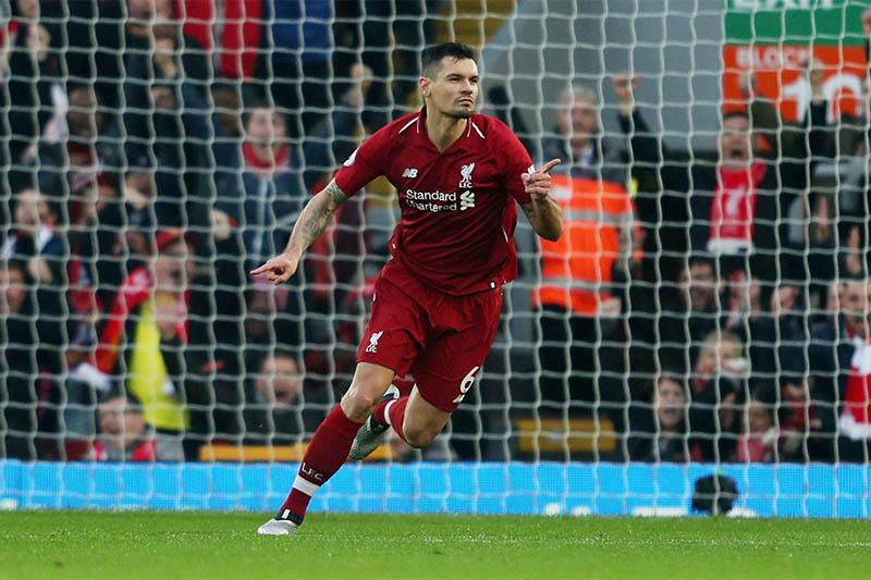 Liverpool's Dejan Lovren celebrates scoring their first goal. Photo: Reuters