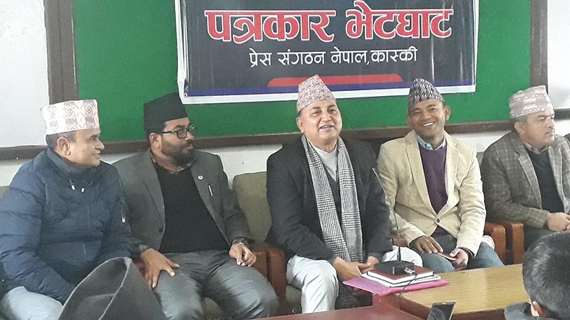Deputy Prime Minister Ishwor Pokhrel speaking at a press meet, in Pokhara, on Saturday. Photo: THT