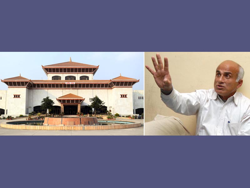This comno image shows the senior orthopaedic surgeon Dr Govinda KC and the Federal paliament building. Photo: THT