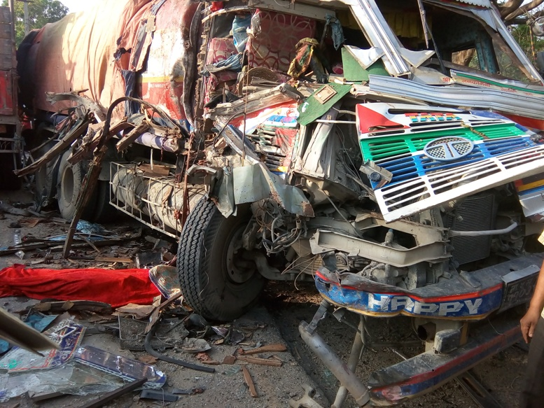FILE: Wreckage of a truck following an accident at Bara. Photo: Traffic Police