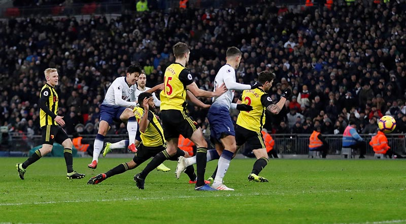 Tottenham's Son Heung-min scores their first goal during the Premier League match between Tottenham Hotspur and Watford, at Wembley Stadium, in  London, Britain, on January 30, 2019. Photo: Action Images via Reuters