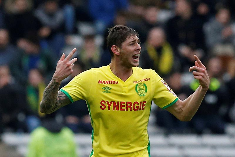 Nantes' Emiliano Sala in action during the Ligue 1 match between FC Nantes and OGC Nice, at La Beaujoire Stadium, in Nantes, France, on March 18, 2017. Photo: Reuters/ File
