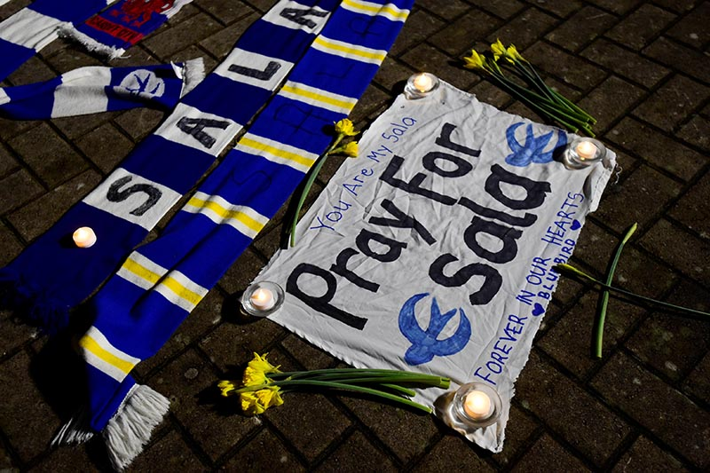 General view of tributes left outside the stadium for Emiliano Sala, at Cardiff City Stadium, in Cardiff, Britain, on January 22, 2019. Photo: Reuters