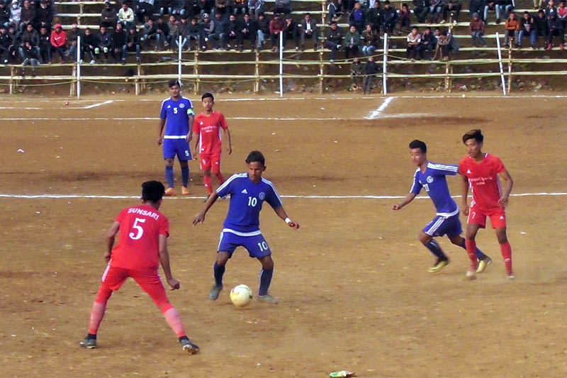 Players in action during Falgunanda Gold Cup in Phidim of Panchthar on Wednesday, January 09, 2018. Photo: Laxmi Gautam